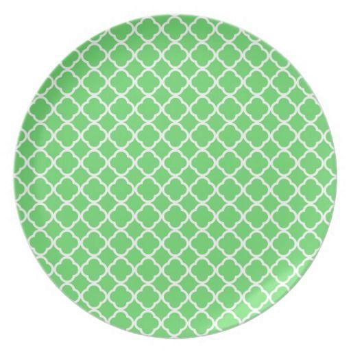 Green Quatrefoil Melamine Plate