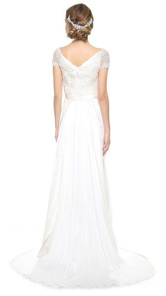 ae596c5835db Reem Acra Twist Front Bridal Gown with Jeweled Sleeves Wedding Dress