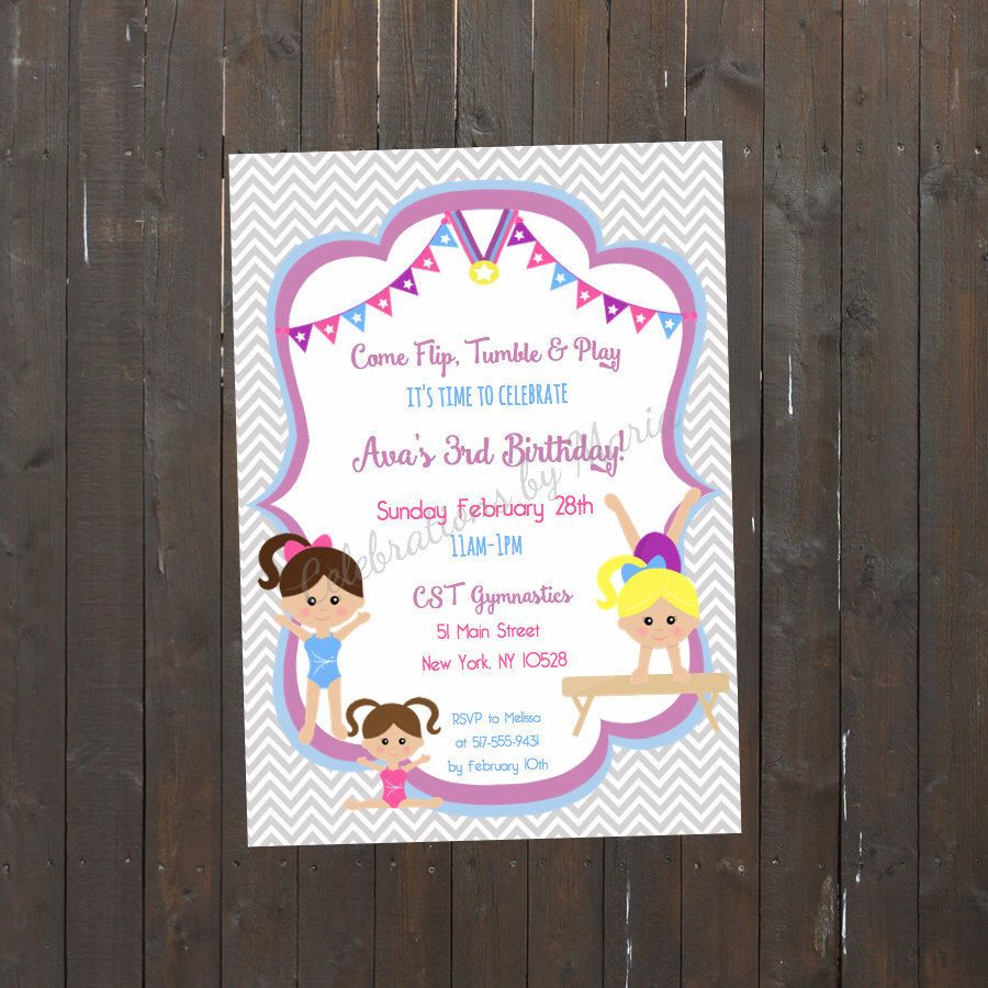 Gymnastic Birthday Invite, Gymnastics Invitation, Printable ...