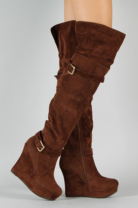 Bamboo Charli-09 Suede Buckle Thigh High Wedge Boot $39.20 | Boots ...