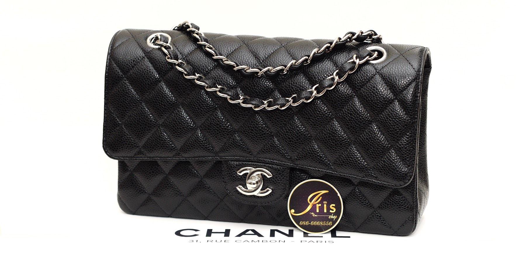 In Classic 10″ กระเป๋าชาแนล Chanel ทรงสวย Shw หนังสวย Caviar Black