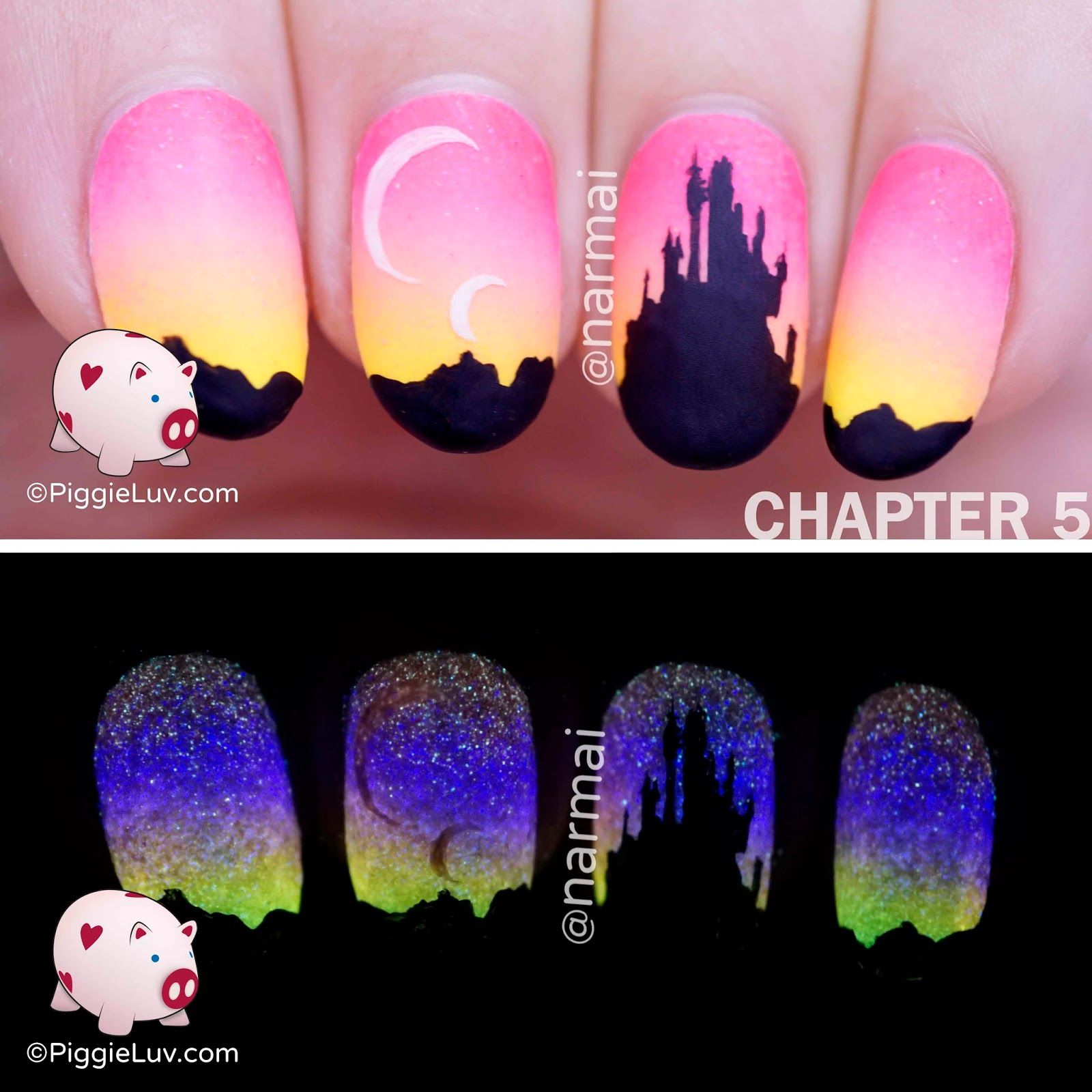 Freehand Epic Portal Story Nail Art 5 Glow In The Dark Manis