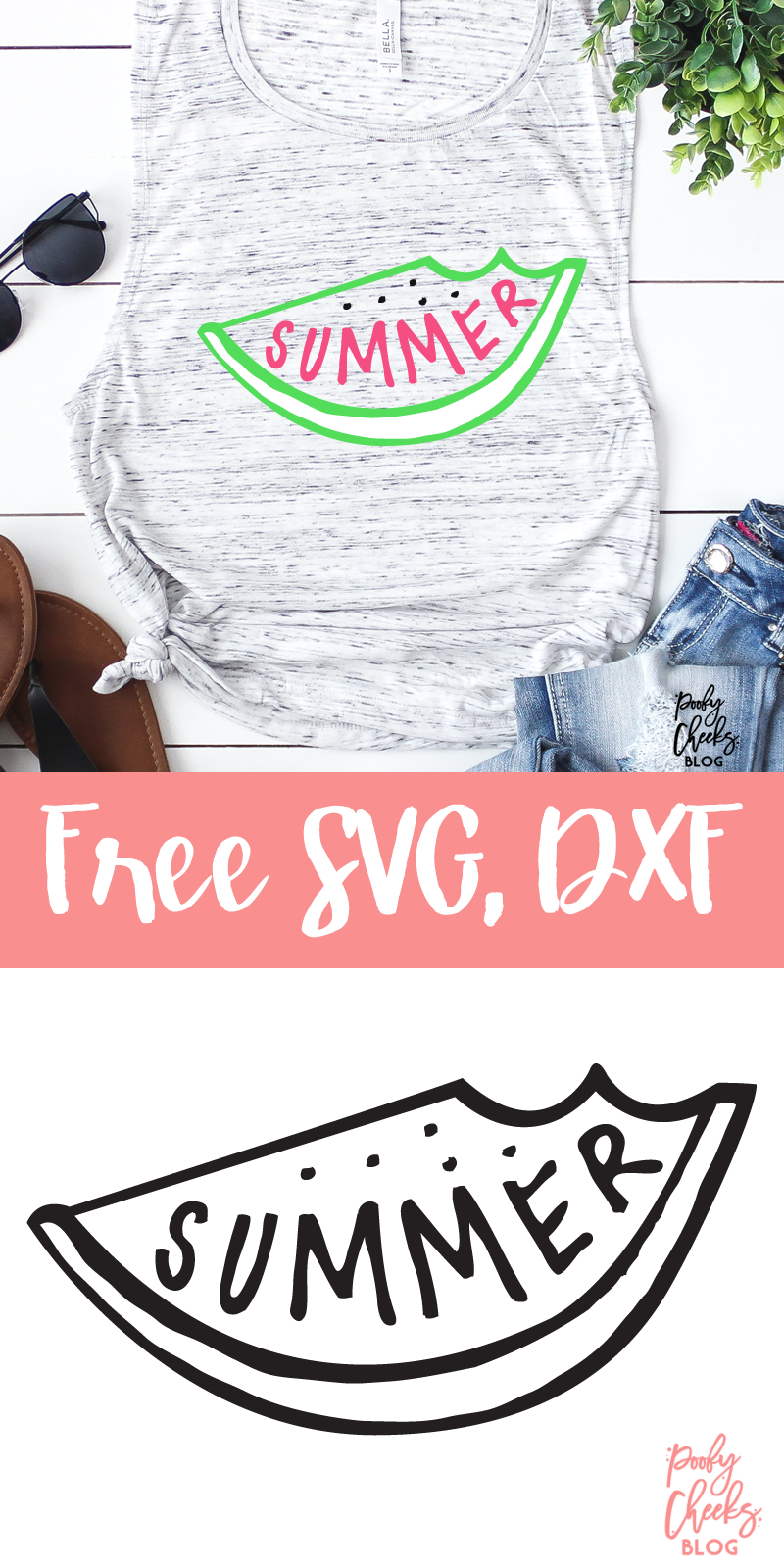 Summer Watermelon Cut File - Silhouette and Cricut Designs and Project Ideas - Poofy Cheeks
