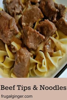 Easy Slow Cooker Beef Tips & Noodles Recipe images