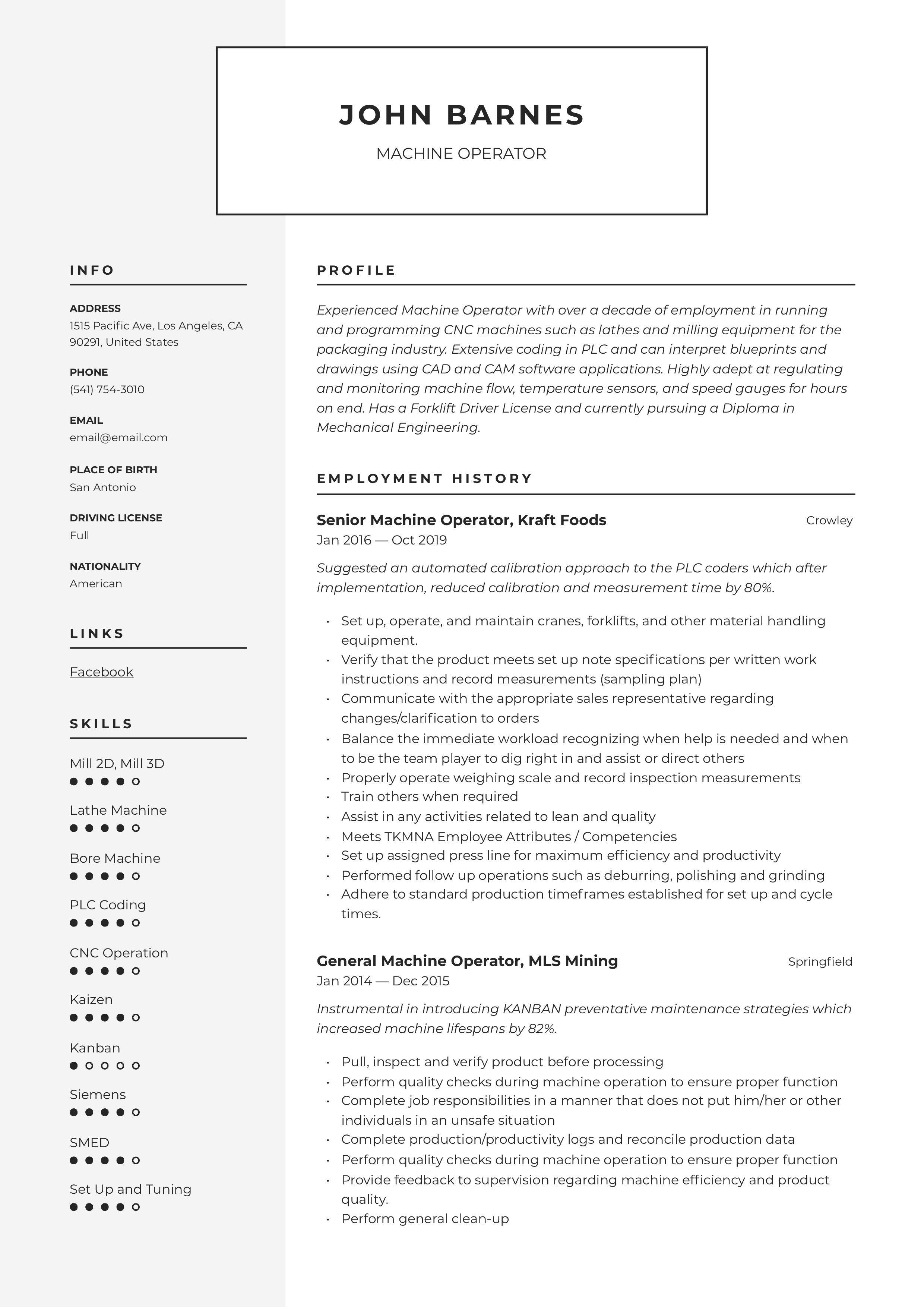 Machine Operator Resume & Writing Guide in 2020 Resume