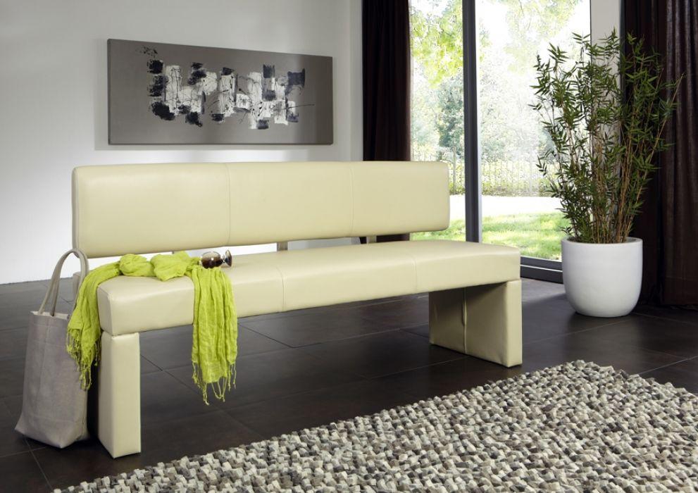 SAM® Sitzbank mit Lehne 180 cm creme recyceltes Leder SANDRA - sitzbank küche mit lehne