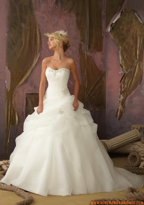 82f9018be5d Robe de mariée bouffante organza perles avec bustier