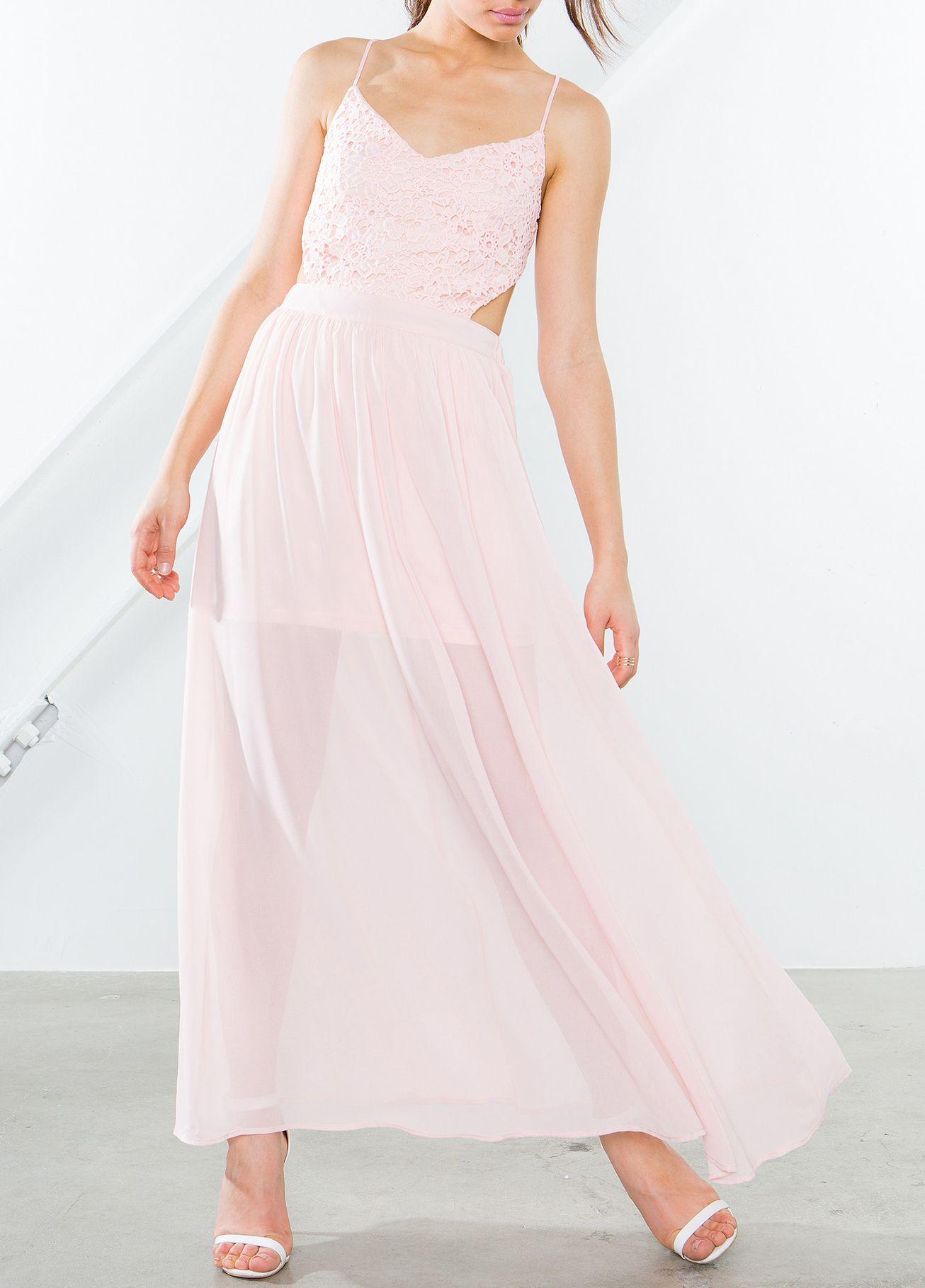 Pink Spaghetti Strap With Lace Maxi Dress 20.99