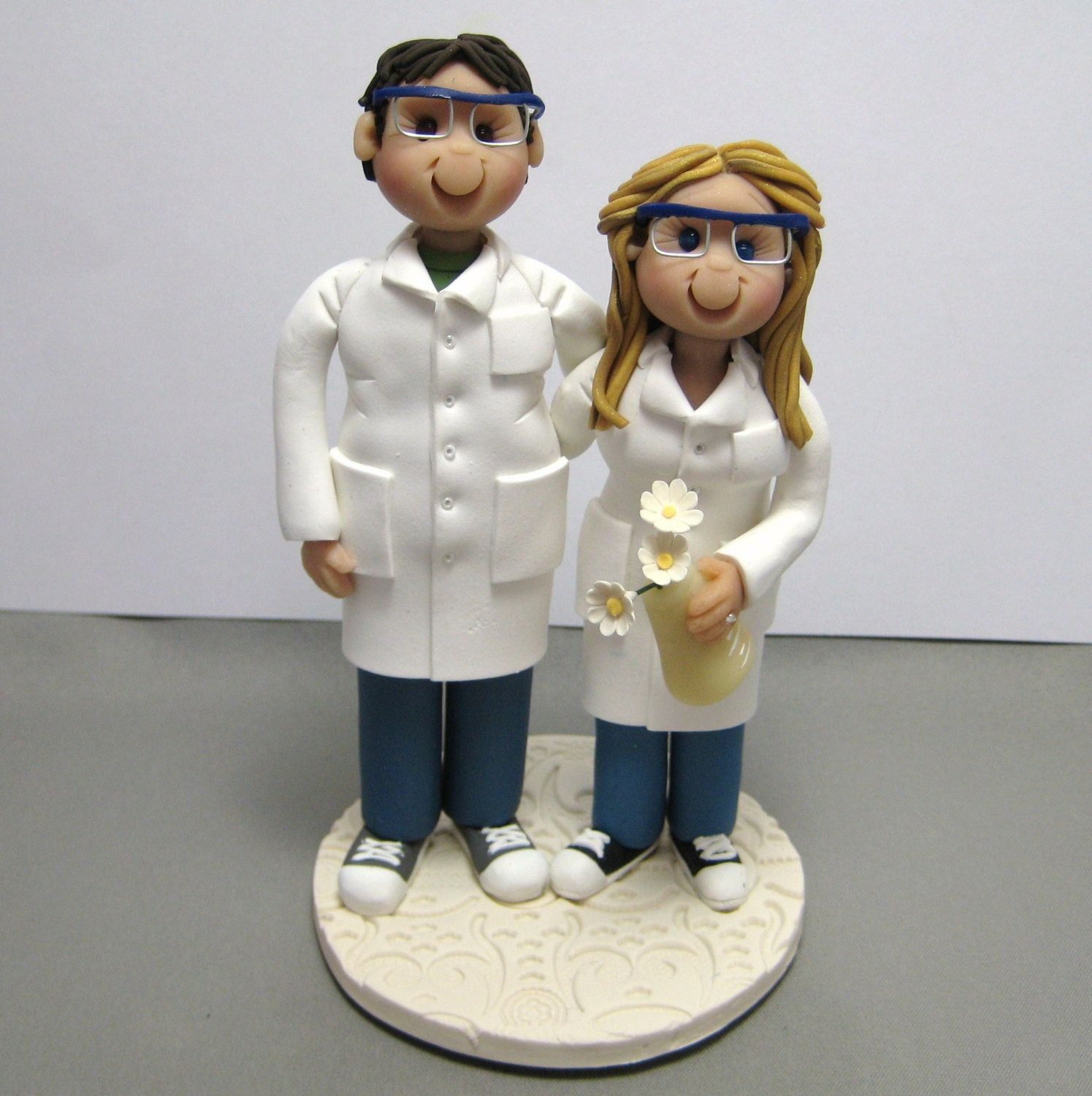 Reserved for Kathlyn Custom Chemists Wedding cake topper polymer clay