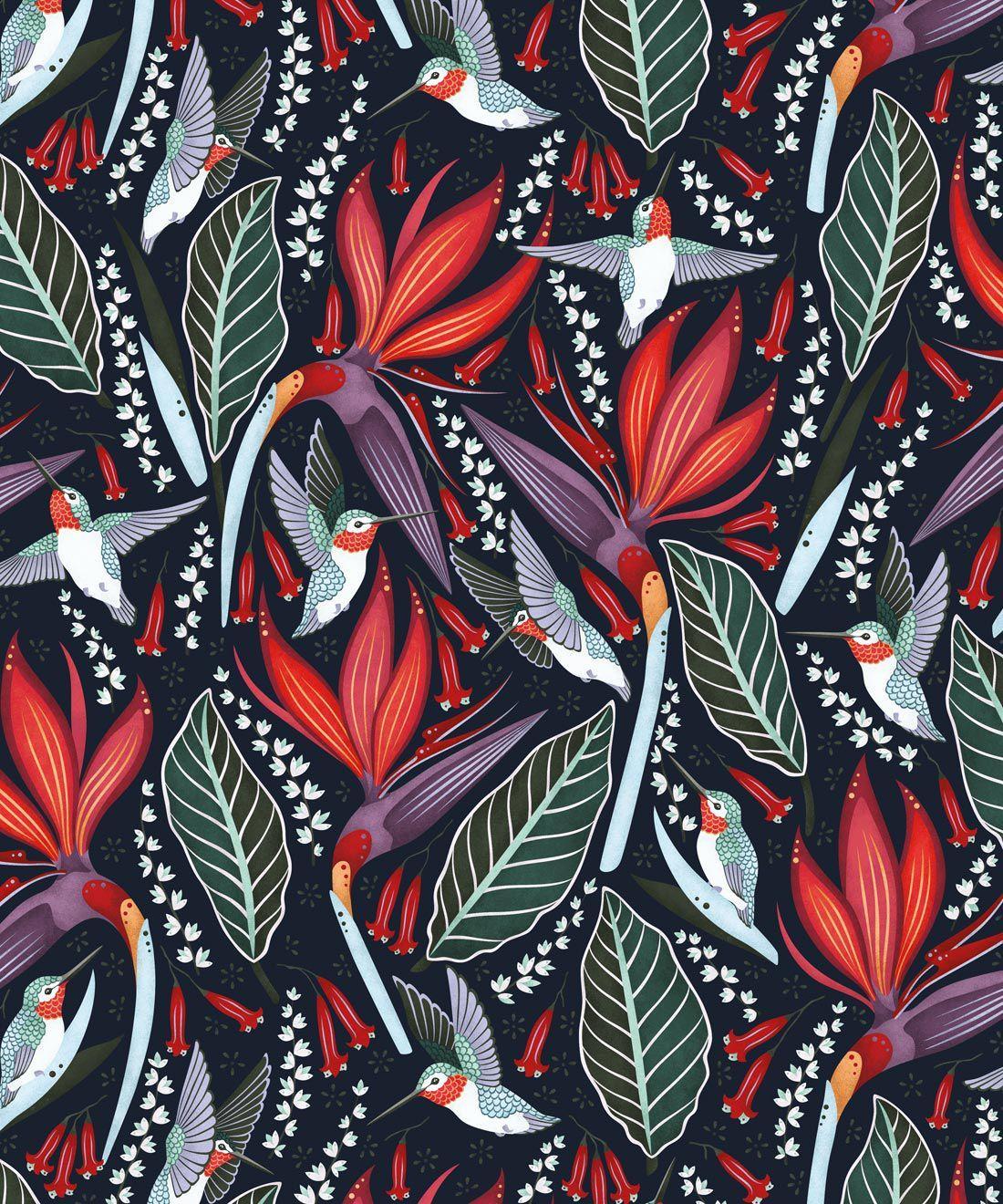 Hummingbirds Wallpaper • Bold Bird Wallpaper • Milton