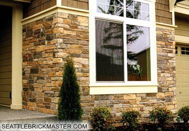 Stone Veneer Cedar Shake And Painted Window Trim