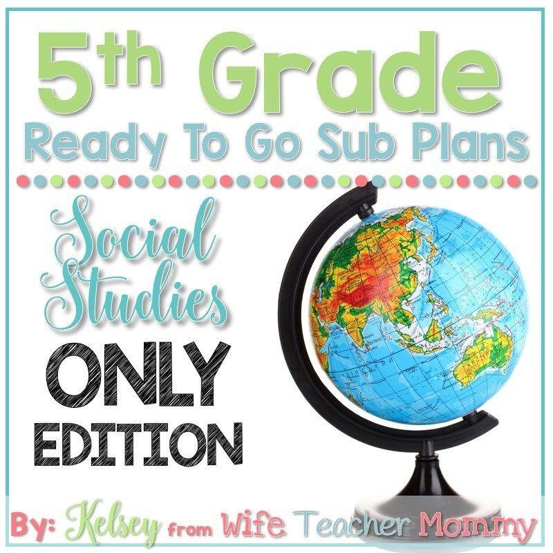 5th Grade Departmentalized Sub Plans – Social Studies #emergencysubplans