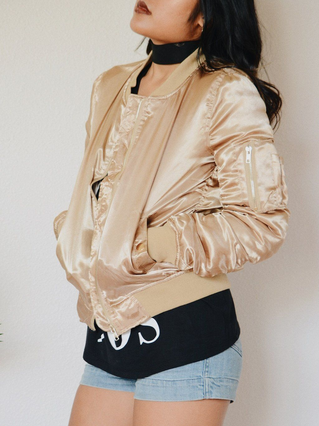 feeb98d8f9c Satin Bomber Jacket (Gold) | Bomber Jackets | Satin bomber jacket ...