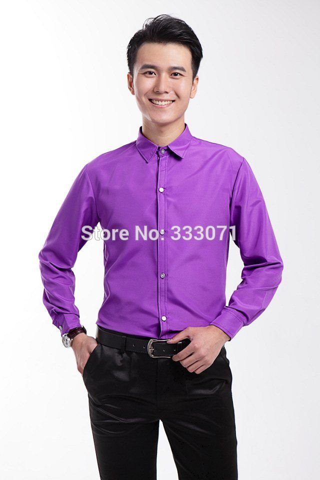 Purple Mens Wedding Prom Groom Shirts performance leisure Wear Man ...