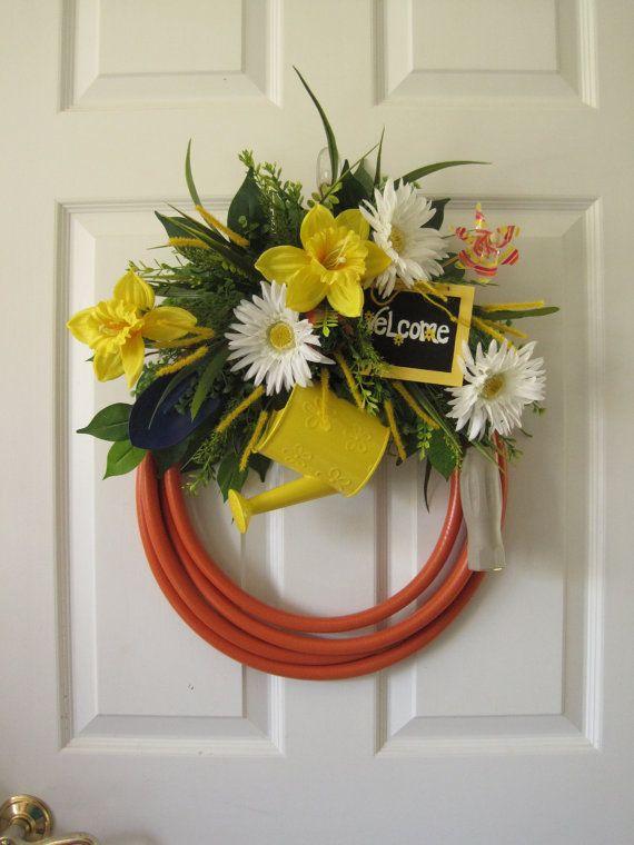 Orange Garden Hose Wreath, Fun Florals Custom Design, Easter Wreath
