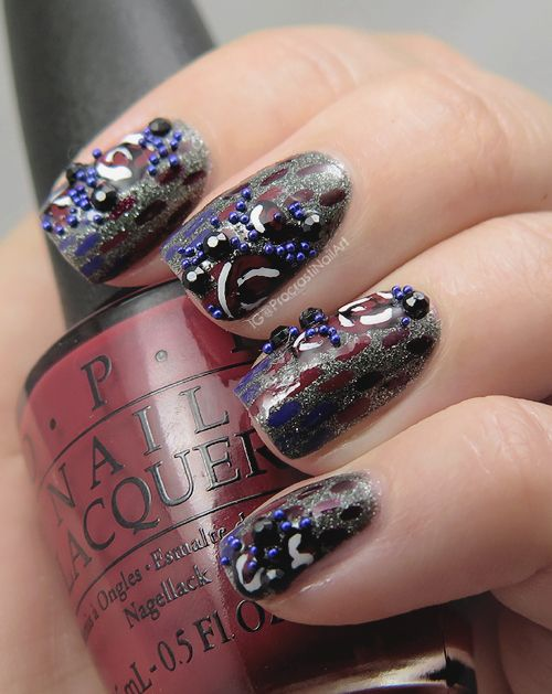 Vampy Roses And Microbeads Nail Art My Nail Art Pinterest