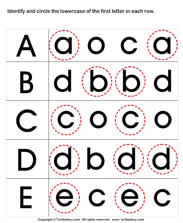 Recognize Letters In Lower Case 1 Worksheet Turtlediary Com Recognizing Letters Preschool Recognize Letters In Lower Case 1 Worksheet Turtlediary Com