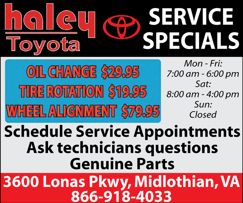 29.95 Oil change special from Haley Toyota! Midlothian