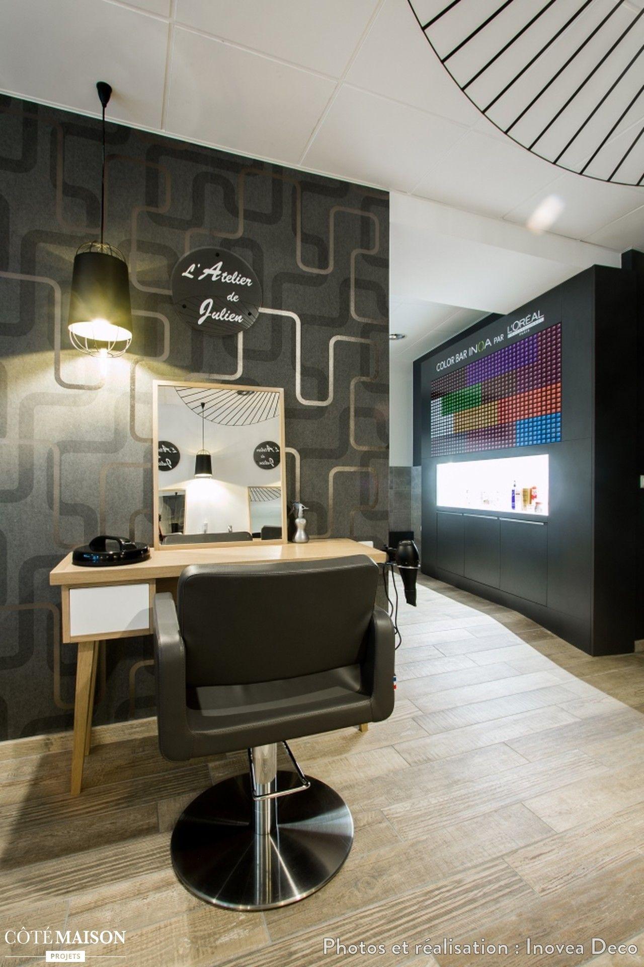 Renovation Totale D Un Salon De Coiffure De 100m Modernite Chaleur Et Esprit Cocooning Sont Mis En Avant Dan Salon De Coiffure Salon Deco Salon De Coiffure