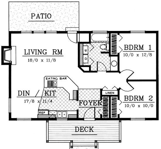 House Plan 692-00039 - Cottage Plan: 960 Square Feet, 2 ... on carport plans, 2 bath home, 2 garage plans, 2 room house plans, 2 bath plumbing, 2 master suite house plans, 2 floor house plans, storage shed plans, deck plans,
