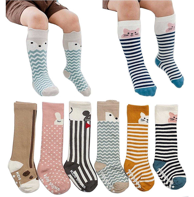 a466f6df73dcd Amazon.com: 6 Pairs Unisex Animal Baby Girls Boys Socks Knee High Stockings  Anti Skid Socks: Clothing