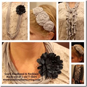 T-shirt flower, scarf, necklace, headband all out of an old t-shirt  www.realsouthernliving.com