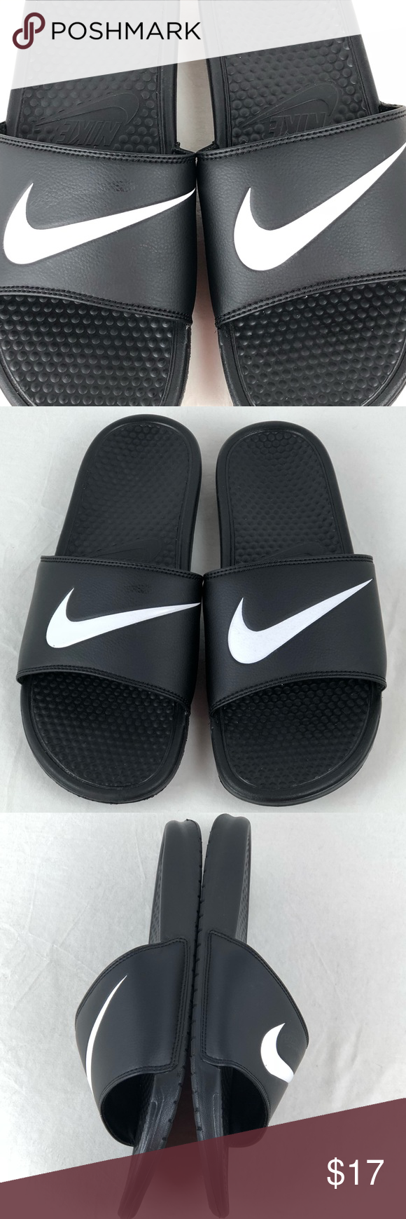 reputable site 9330c 10202 Nike Benassi Swoosh Slide Sandals 312618-011 Sz 14 The Nike Benassi Swoosh Mens  Slide