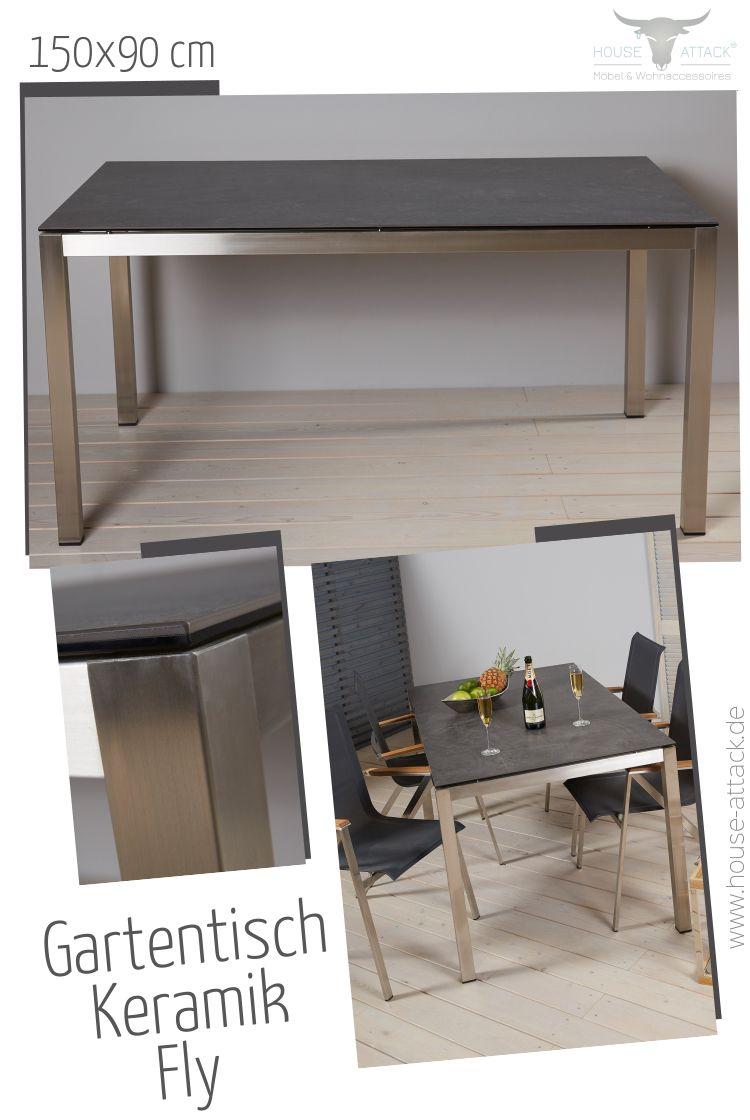 Lc Garden Gartentisch Fly 150 X 90 Cm Edelstahl Keramik Glas Dark