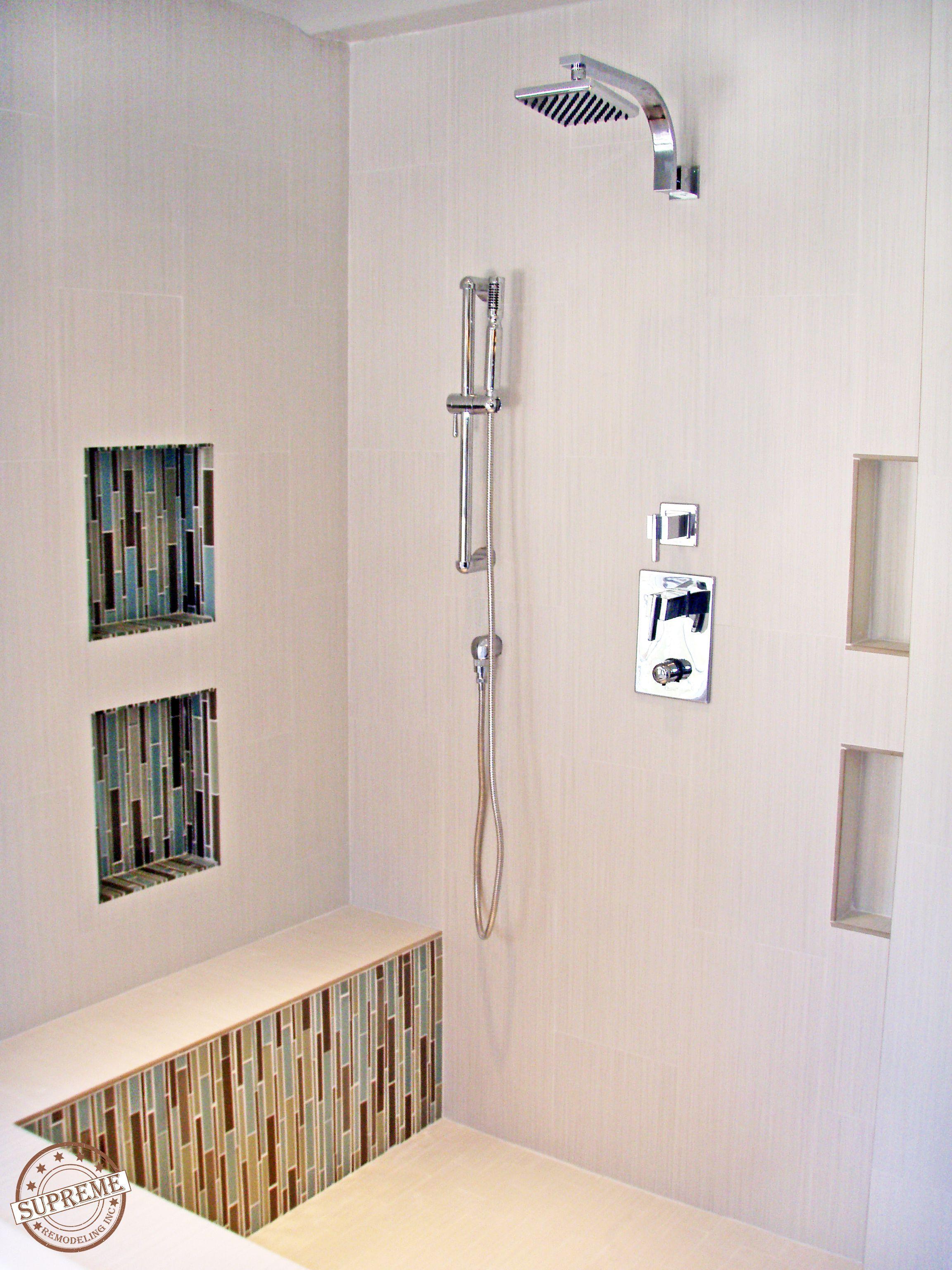 How To Retile A Shower With Images Diy Shower Shower Design Shower Shelves