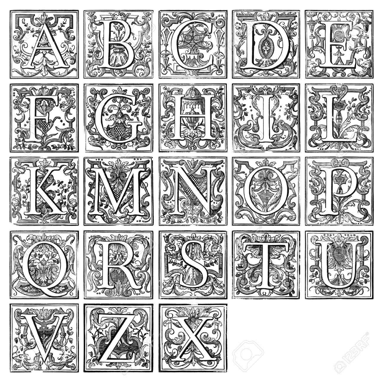 Renaissance calligraphy google latters for Illuminated alphabet templates