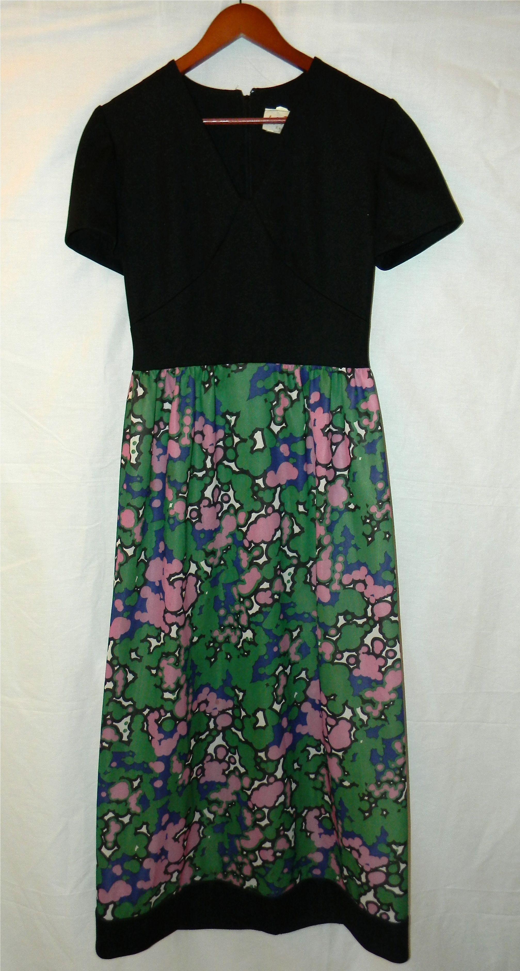 Vintage s s dress leslie fay mod black and bright colors