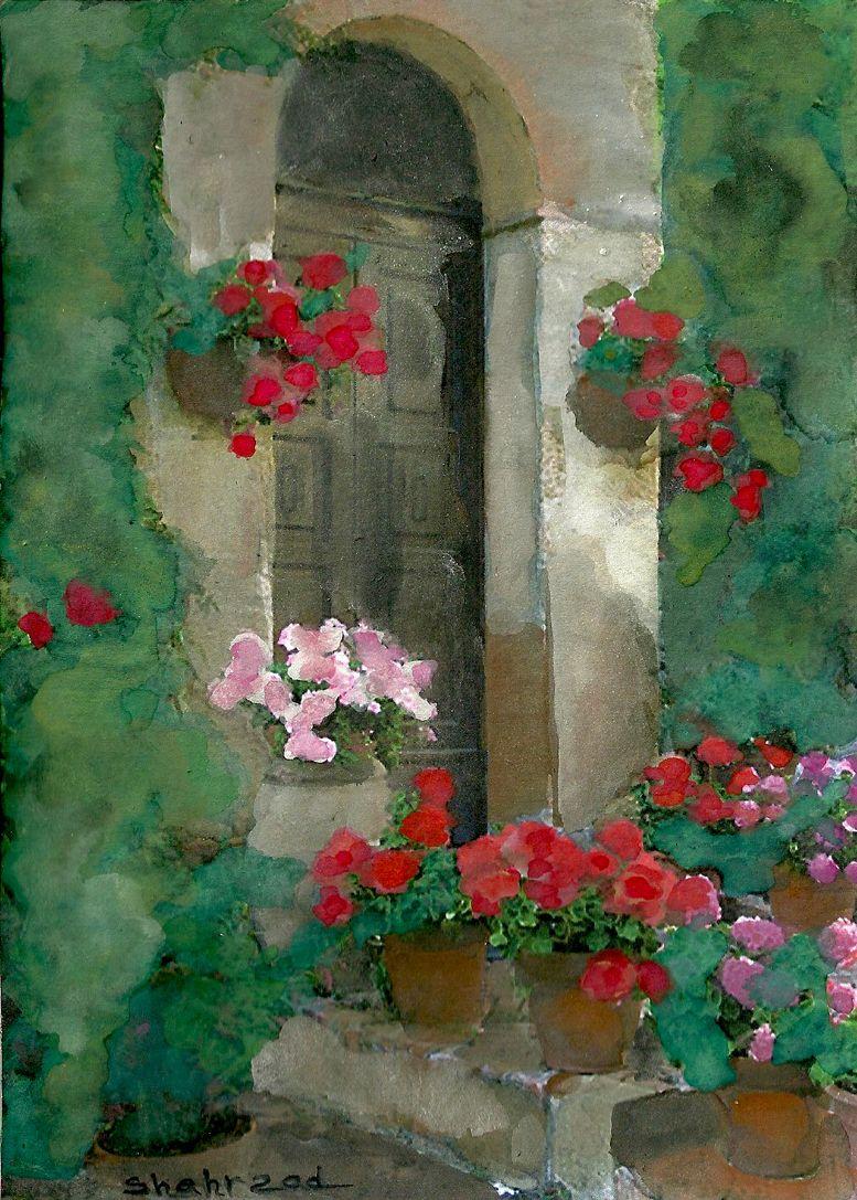 The door watercolor by shahrzad ranji akvarel krajinka pinterest