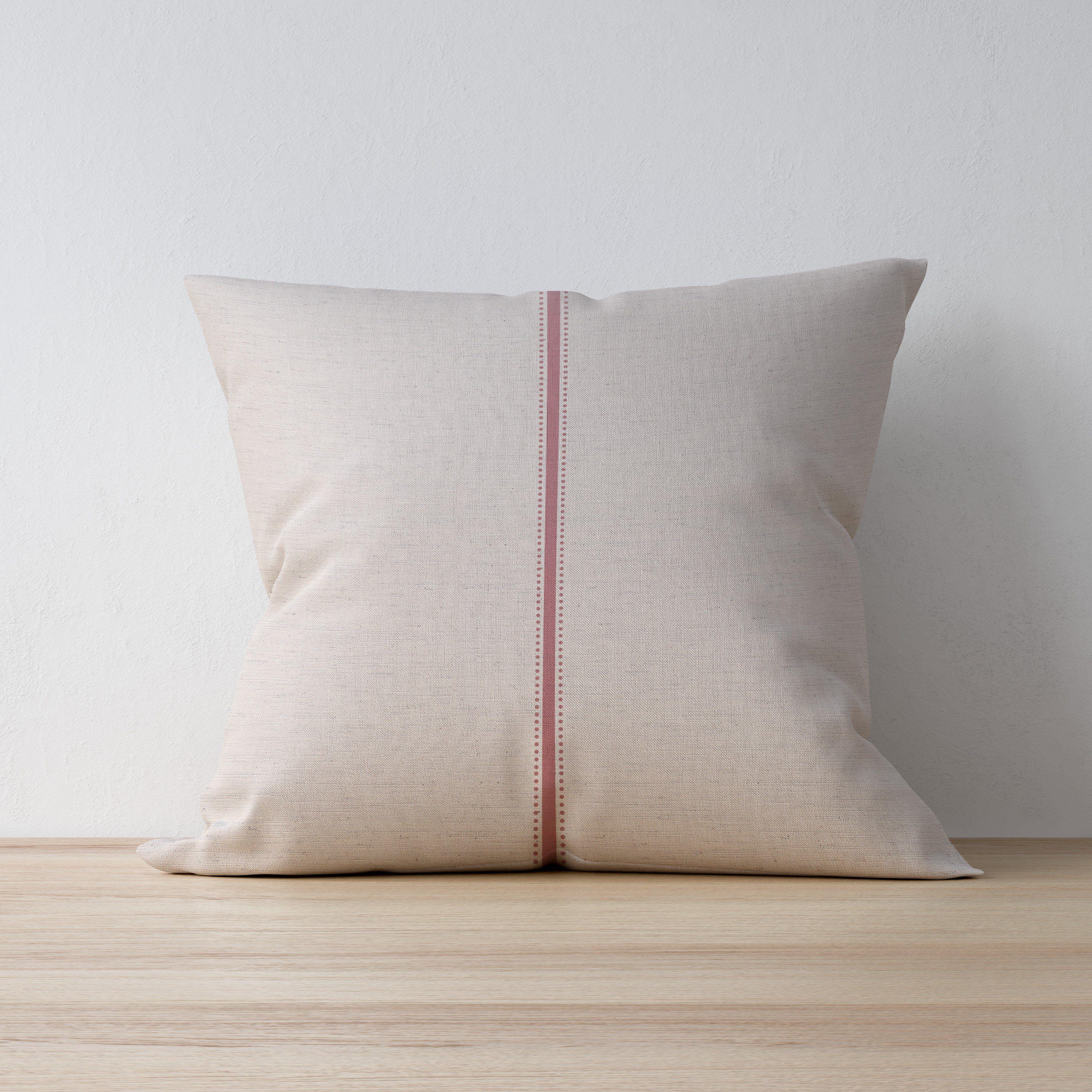Dot & Stripe Linen Cushion - 20 / Hollowfibre / Blush Rose