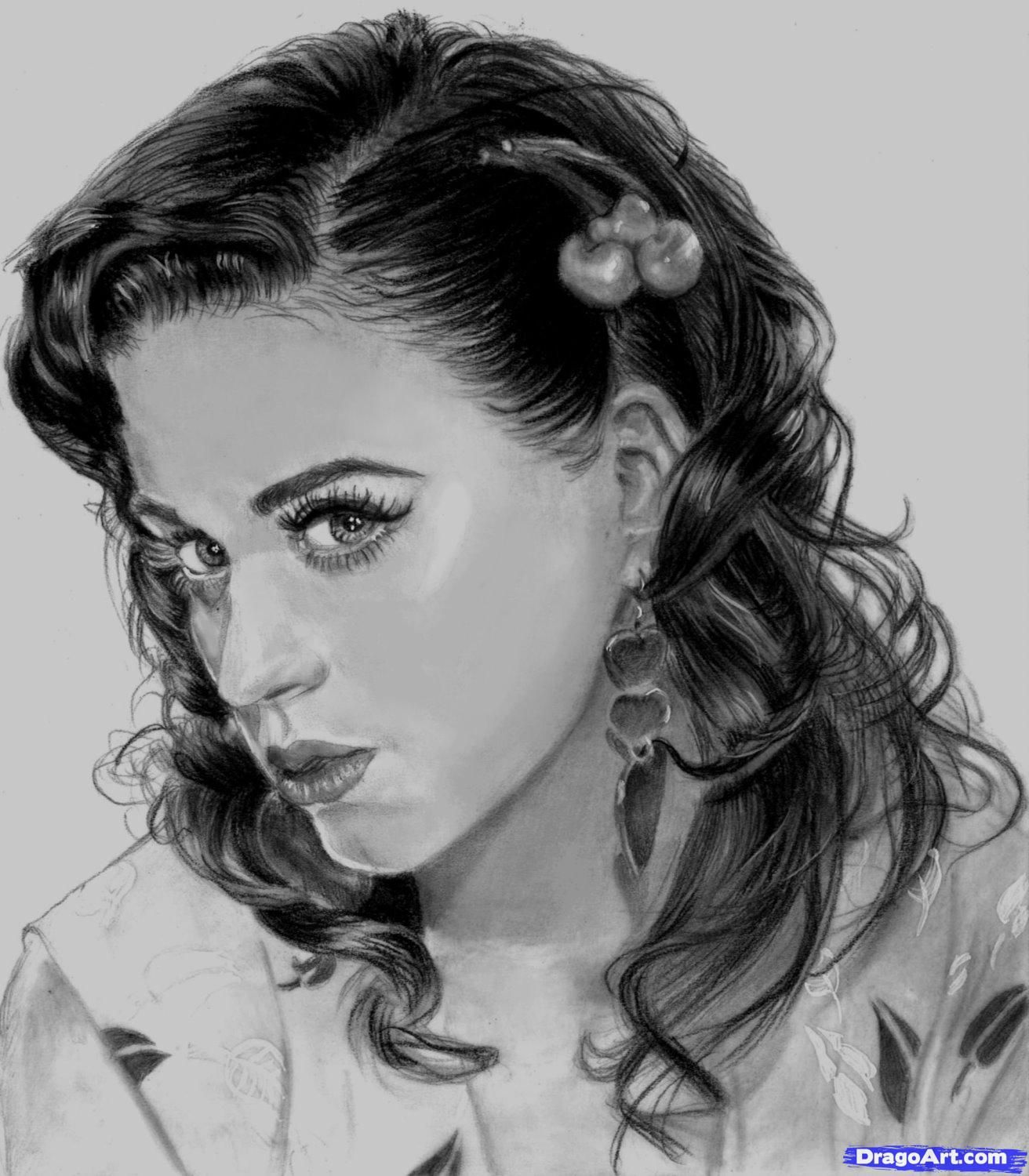 Free coloring pages katy perry - Character Drawings Of Famous People How To Draw Katy Perry