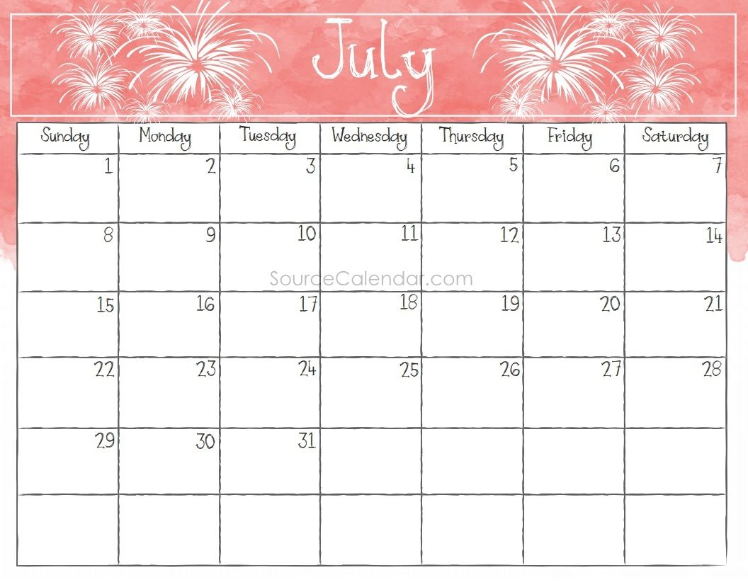 July Calendar 2018 Printable Excel With Holidays With Images