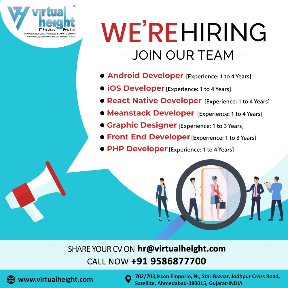 Hiring Alert We Have An Urgent Opening For Web App Developer For Ahmedabad Loca App Development Mobile App Development Companies App Development Companies
