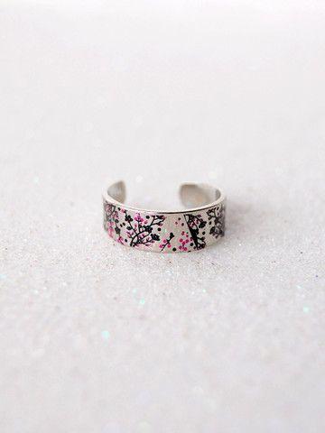 Silver Cherry Blossom Ring | Black Tied