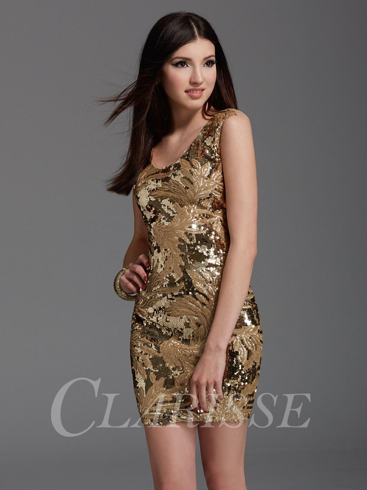 Gold Short Sequin Prom Dress