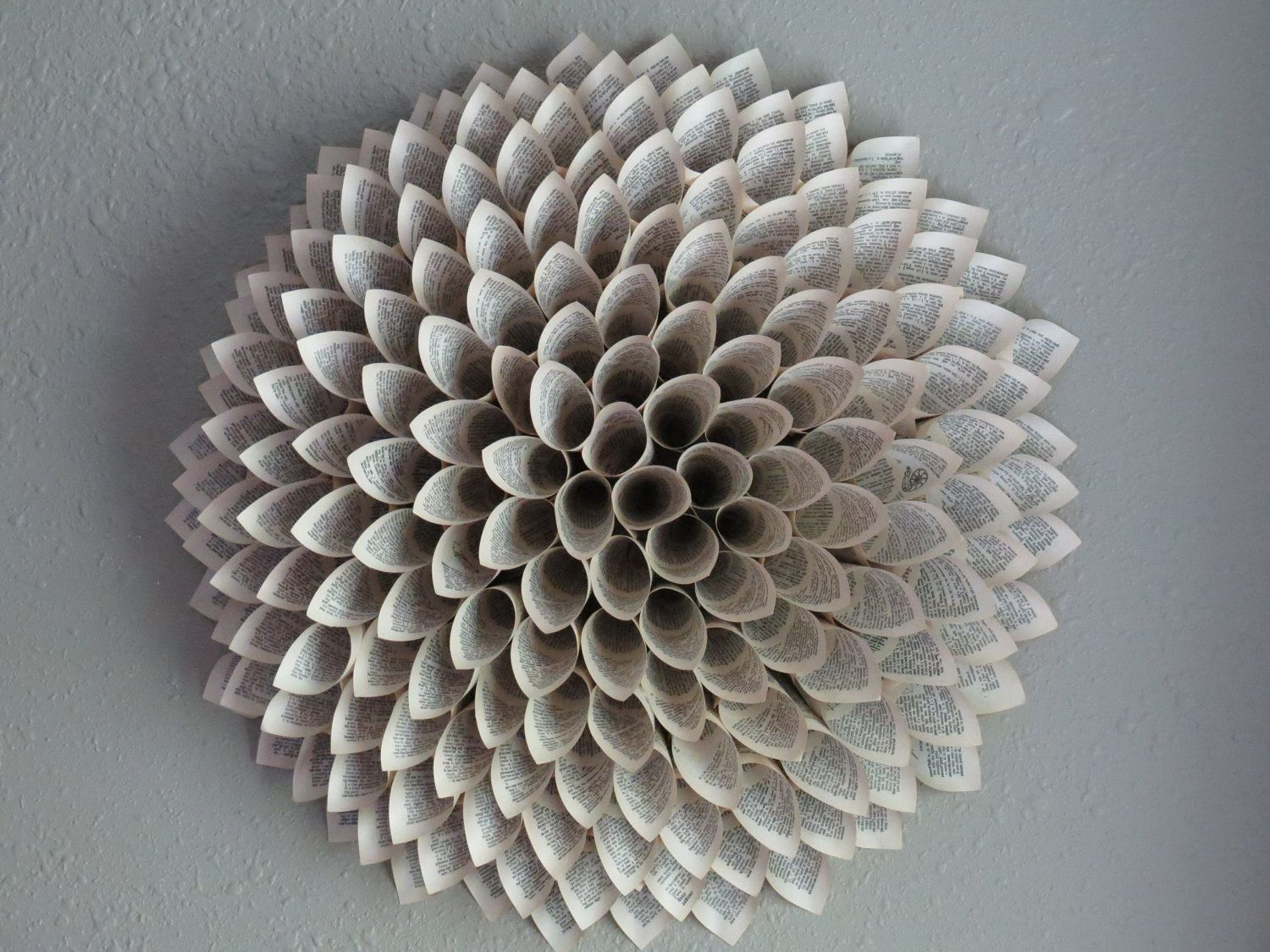 Paper flower upcycled book pages large wall art 5500 via paper flower upcycled book pages large wall art 5500 via etsy dhlflorist Image collections