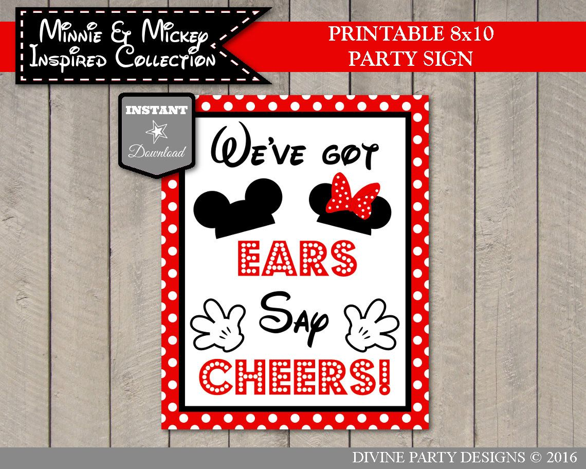 INSTANT DOWNLOAD Clubhouse party signs Say Cheers Party Sign 5x7 and 8x10 Printable Girl and Boy Mouse Clubhouse We/'ve Got Ears