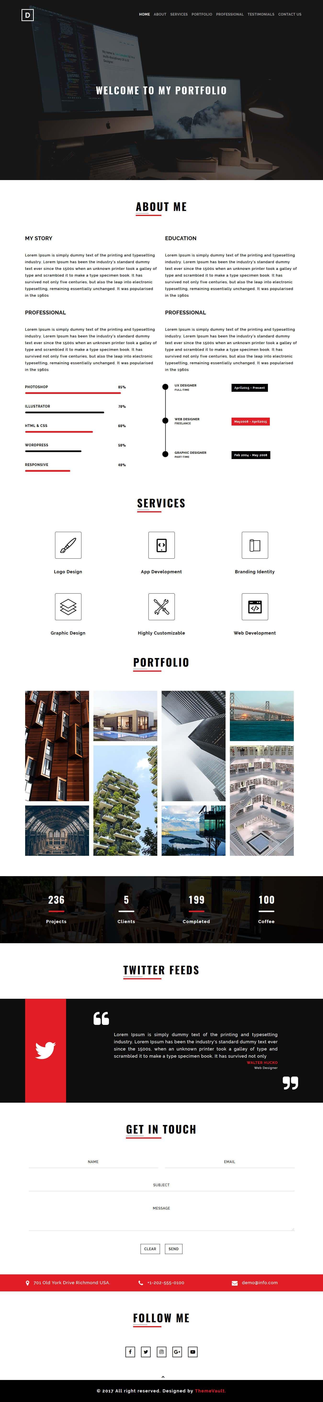Martin Portfolio website design, Website template