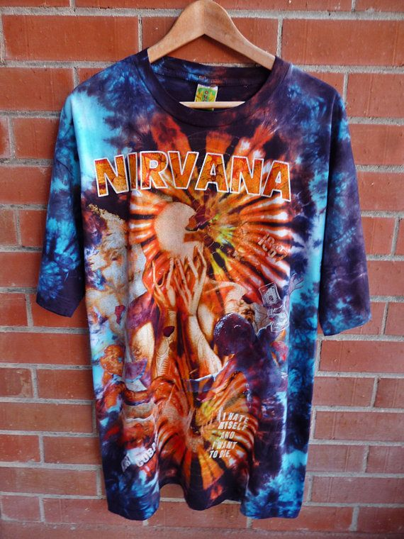Vintage NIRVANA I Hate Myself and i want to die Kurt Cobain Grunge Alternative rock 90s Tie Dye T-Shirt