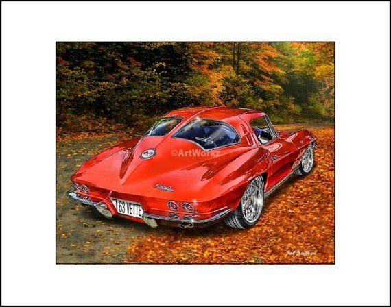 1963 Corvette Split Rear Window – Classic Car Print – 8×10 Print w/ 11 x 14 Mat, AW4