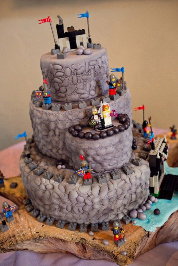 Remarkable A Tiered Cake In The Shape Of A Castle With Lego Knights And Funny Birthday Cards Online Overcheapnameinfo