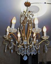lustre ancien a pampilles cristal 6 branches chandeliers. Black Bedroom Furniture Sets. Home Design Ideas