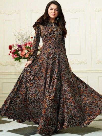 Https Www Aainagirl Com Drashti Dhami Floor Length Kurti 1105 Fashion Long Kurti Designs Stylish Dresses