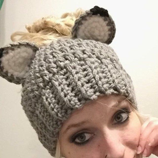 Handmade Messy Bun Fox Hat, Wolf Ponytail Beanie, Handmade Crochet Messy Bun Beanie, Knit Pony tail Hat, Ladies Kids Girls' Teen Winter Hat #kidsmessyhats