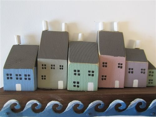 Shoeless Joe Row Coloured Wooden Quayside Houses Nautical Seaside Home Decor