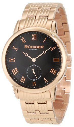 Rudiger Men's R3000-09-007 Leipzig Rose Gold IP Black Dial Roman Numeral Watch Rudiger. $125.72