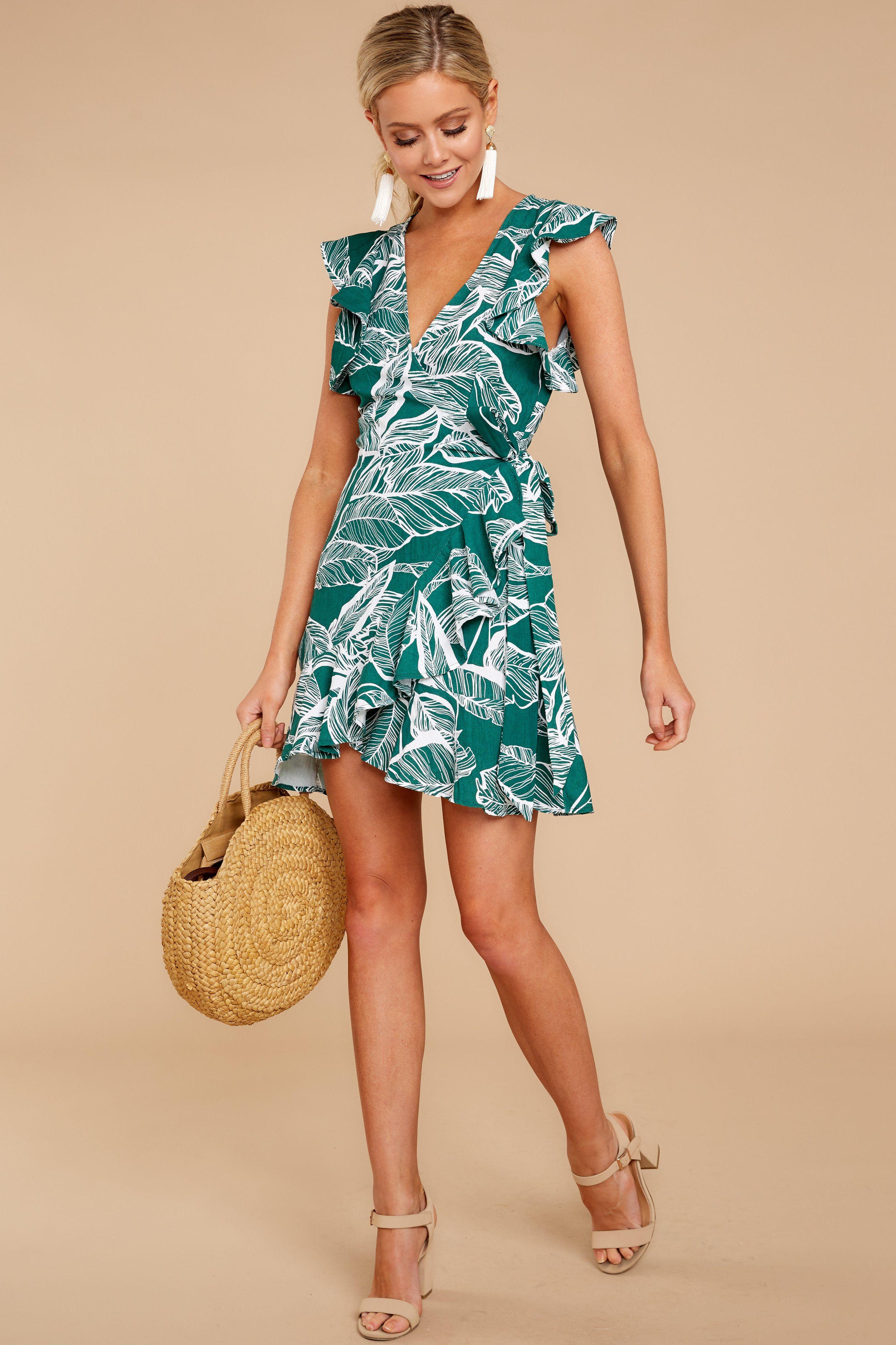351e988c6d0c68 Trendy Green Wrap Dress - Tropical Print Dress - Short Dress -  44.00 – Red  Dress Boutique